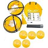 e-joy Porpora Portable Instant Pop-Up Soccer Goal, Nets, Kids Soccer Training Target, Foldable Collapsible Soccer Goals (Set of 2 In Carry Bag Include Cones and Pump), Orange