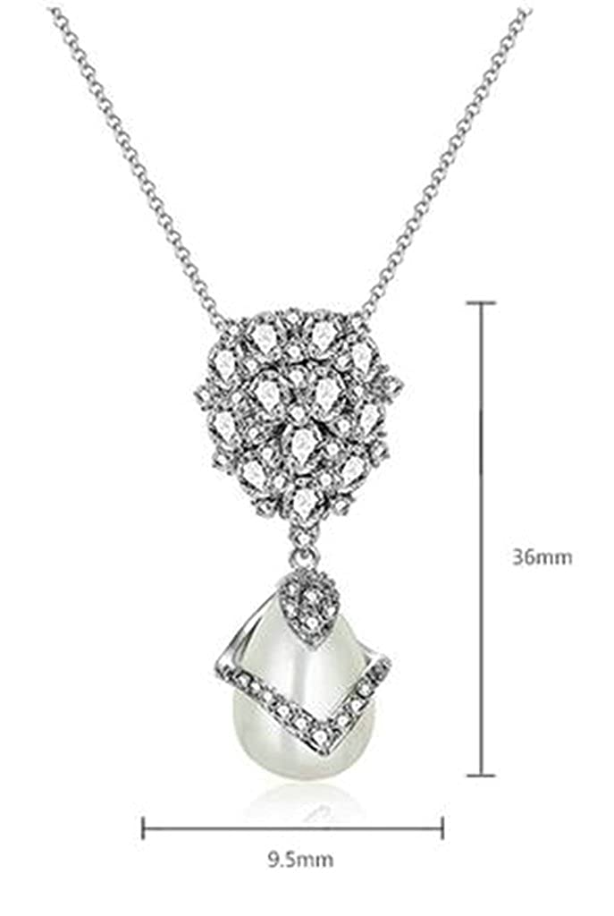 Aooaz Ladies Womens Silver Plated Pendant Necklace White Crystal CZ White Pearl Promise Wedding Necklace