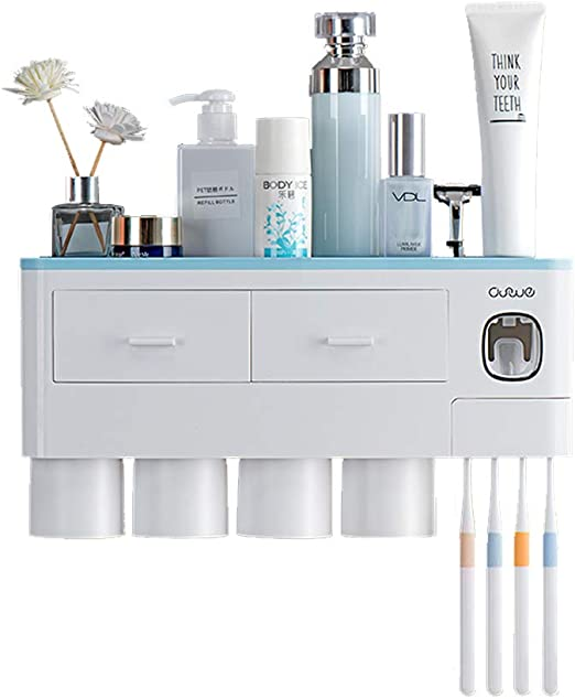 Amazon Com Emaprui Toothbrush Holder Multifunctional Wall Mounted Space Saving Toothbrush And Toothpaste Squeezer Kit With Dust Cover 6 Toothbrush Slots 1 Automatic Toothpaste Dispenser And 4 Cups Blue Home Kitchen