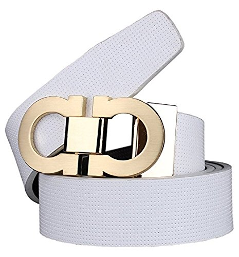 Guan's Men's Smooth Leather buckle belt 35mm Leather up to 42in