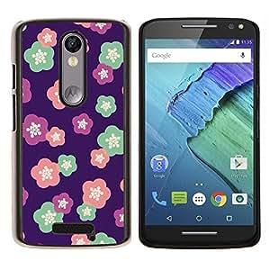 KLONGSHOP // Cubierta de piel con cierre a presión Shell trasero duro de goma Protección Caso - estampado de flores de color rosa púrpura rojo rosa - Motorola Moto X3 3rd Generation //