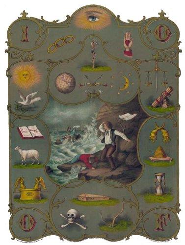 Antique Odd Fellows Degree Chart art print IOOF I.O.O.F. 12x18 oddfellows
