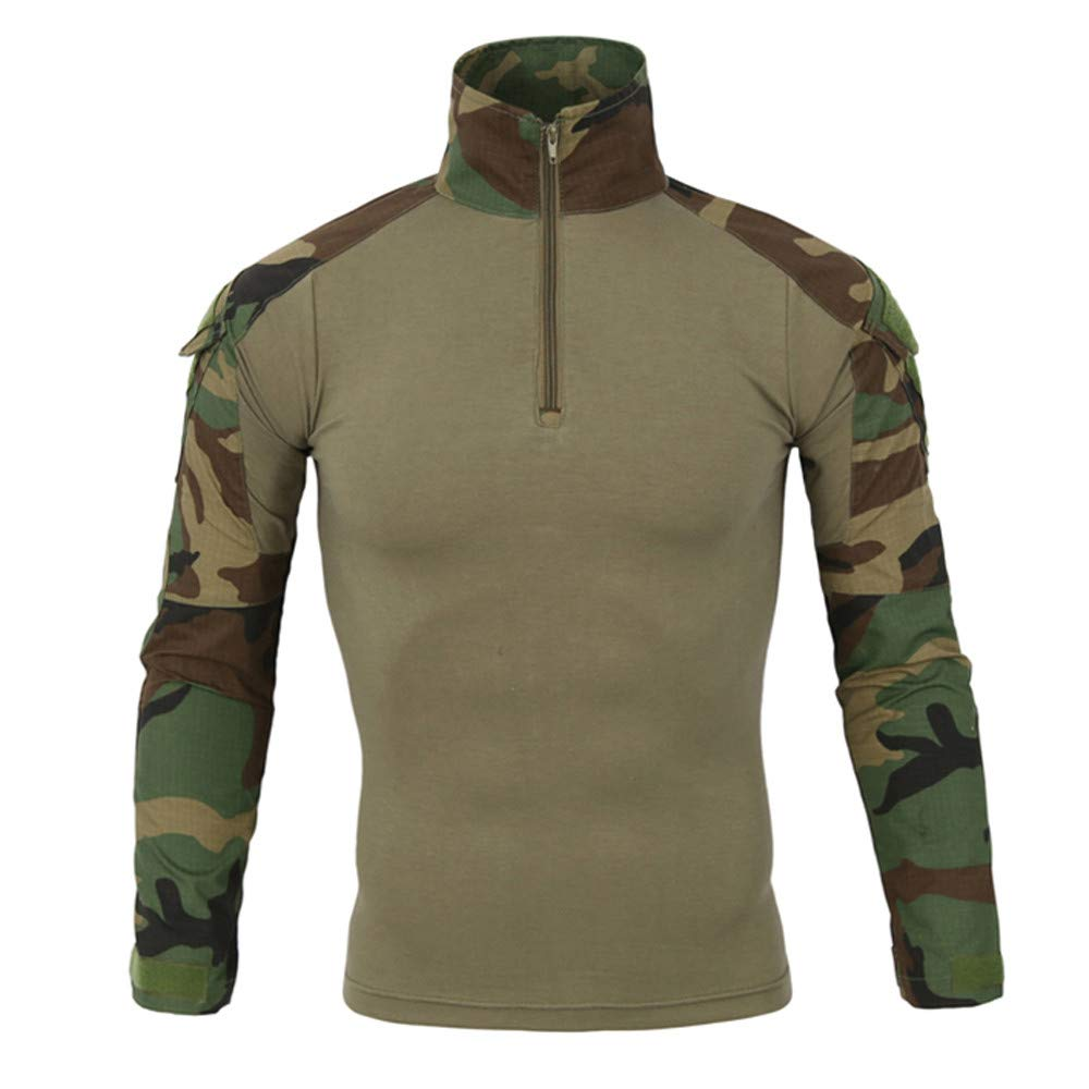 Muranba Mens Winter Coats Tactics Camouflage Long-Sleeve Beefy Muscle Basic Solid Blouse Tee Shirt Top