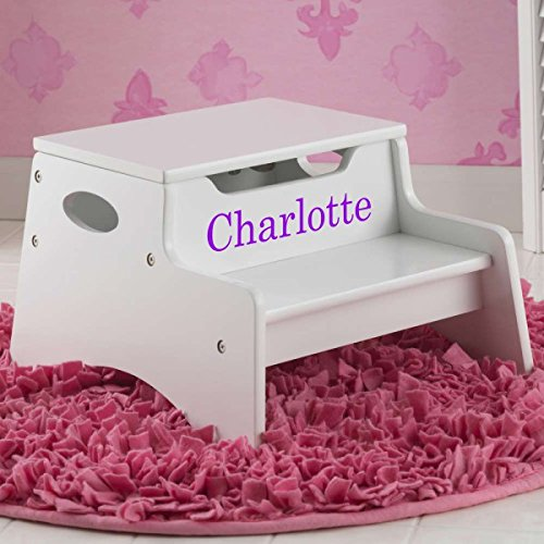 Step Stool with Storage - White for Girls by DIBSIES Personalization Station