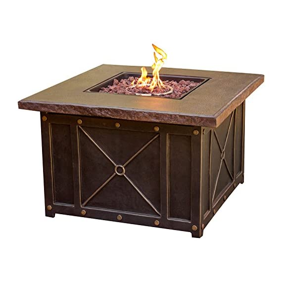 Hanover SUMMRNGHT5PCTAN Summer Night 5 Piece Fire Pit Conversation Set with Natural Oat Cushions Outdoor Furniture, Tan - Includes four spring-action rocking chairs and one 40 in. fire pit Each piece designed with premium all-weather materials for outdoor entertainment all year long Durastone LP gas fire pit (30,000 BTU) doubles as a coffee table - patio-furniture, patio, conversation-sets - 51f8niD4crL. SS570  -