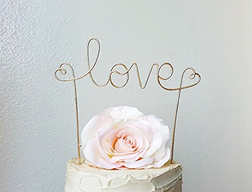 LOVE Wedding Cake Topper Banner in CHAMPAGNE GOLD Wire Finish, Wedding Cake Decoration by AntoArts (Words Topper Cake)