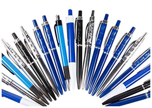 Ballpoint Pen - 100-Pack Blue Ink Pen, Plastic Retractable Pen Bulk Pack for Office Supplies, Prize Giveaway, Convention, Medium Tip 1.0mm Pen, Random Assorted Designs, 5.5 Inches