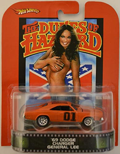 Hot Wheels '69 Dodge Charger Orange Custom-Made with Real Rider Rubber Wheels Limited Edition The Dukes of Hazzard General Lee Series 1:64 Scale Collectible Die Cast Model Car
