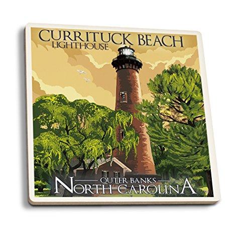 - Lantern Press Outer Banks, North Carolina - Currituck Beach Lighthouse (Set of 4 Ceramic Coasters - Cork-Backed, Absorbent)