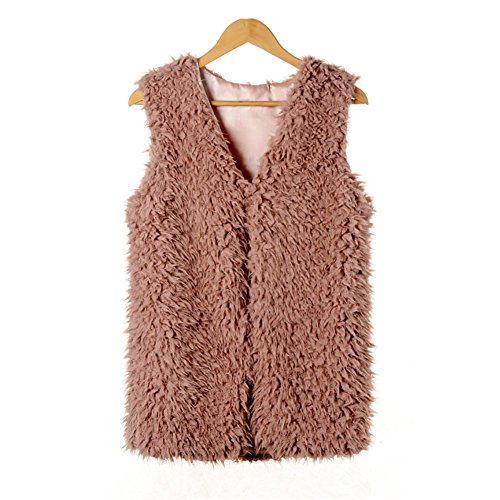 Dikoaina Medium Length Front Open Shearling Sherpa Faux Fur Vest ()