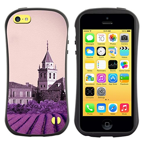 All-Round Hybrid Rubber Case Hard Cover Protective Accessory Gerneration-I Compatible with Apple iPhone 5C - Nature Purple Flower Castle