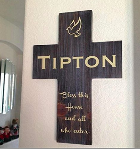 Personalized last name wall cross handmade gift with Bless this House and all who enters. Handmade in the USA