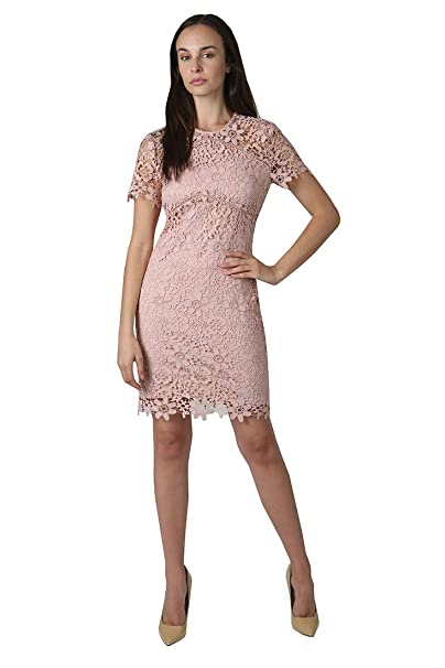 Bebe Womens Short Sleeve Mock Neck Chemical Lace Dress With