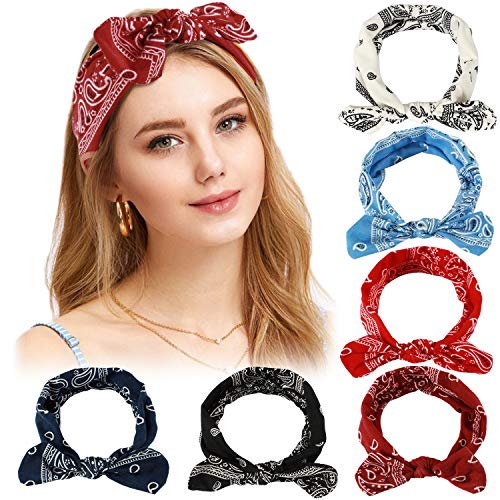 Bascolor 6 Pack Paisley Headbands for Women Girls Bowknot Boho Vintage Floral Cute Stretchy Head Wrap Yoga Sport Shower Headbands Hair Accessories (Floral 01)