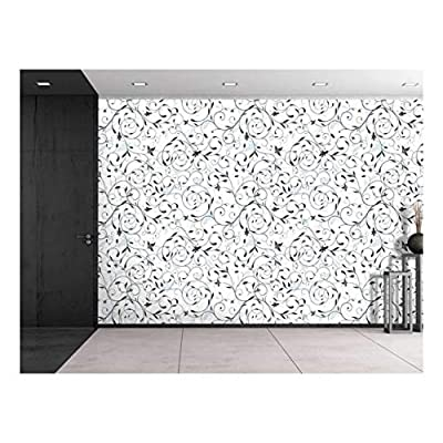 Lovely Style, Large Wall Mural Seamless Floral Pattern Vinyl Wallpaper Removable Decorating, Made With Top Quality