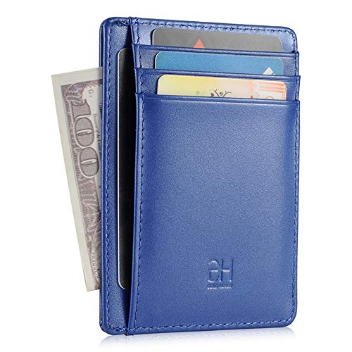 GH GOLD HORSE Slim RFID Blocking Card Holder Minimalist Leather Front Pocket Wallet for Women (Blue)