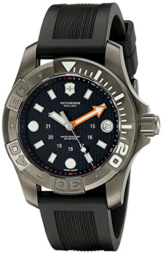 Swiss Army Dive Master 500 Midsize Quartz Black PVD Steel Mens Strap Watch Calendar 241555