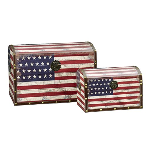 (Household Essentials Decorative Storage Trunk, American Flag Design, Jumbo and Medium, Set of 2)