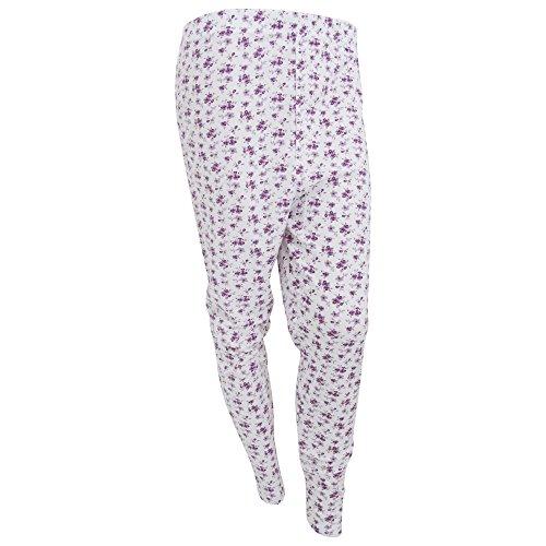 Universal Textiles Womens/Ladies Thermal Floral Pattern Long Janes (Medium) (White/Lilac)