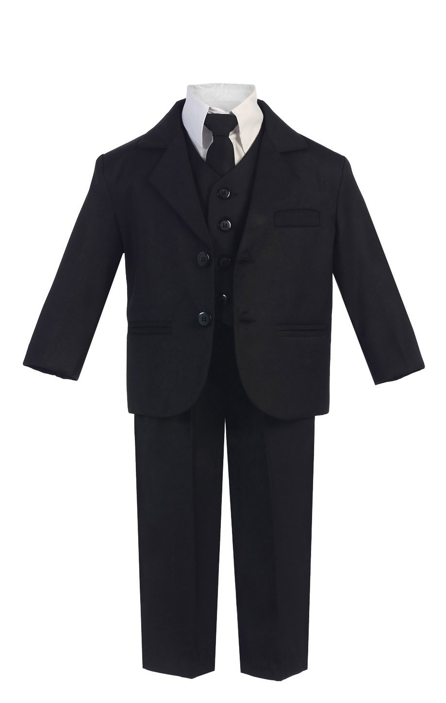5 Piece Boy's Dress Suit with Shirt, Vest, and Tie (10H, Black)