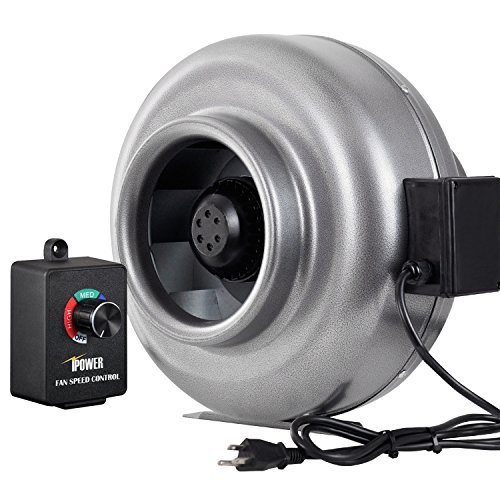 iPower GLFANXINLCTR8 8 Inch 750 CFM Duct Inline HVAC Exhaust Blower Ventilation Fan with Variable Speed Controller, 8
