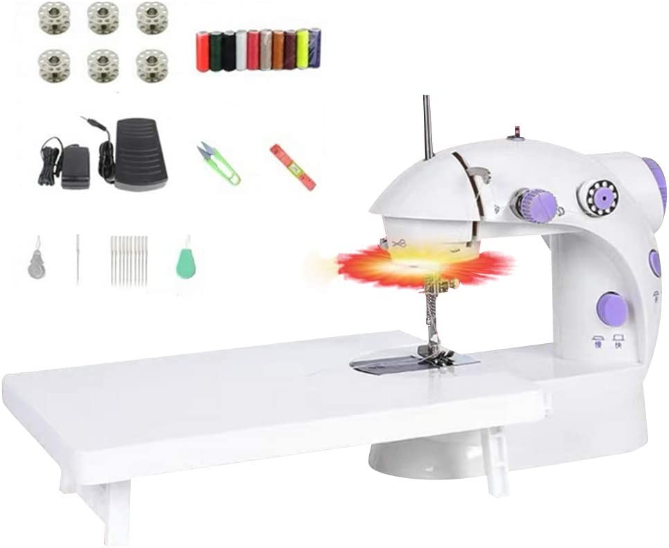 Sewing Machine,Portable Mini Electric Crafting Mending Machine 2-Speed Double Thread with Foot Pedal for Household Travel Beginner 33Pcs Kit and Table