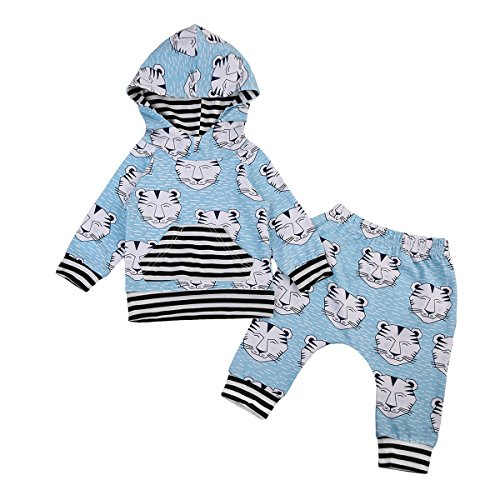 Tiger Outfit (2pcs Newborn Baby Boy Cute Tiger Print Hoodies+ Long Pants Outfit Set (80(6-12 months), Light Blue))