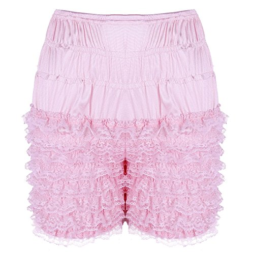 ACSUSS Women's Tiered Ruffle Panties Dance Bloomers Sissy Booty Shorts Pettipants Pink X-Large