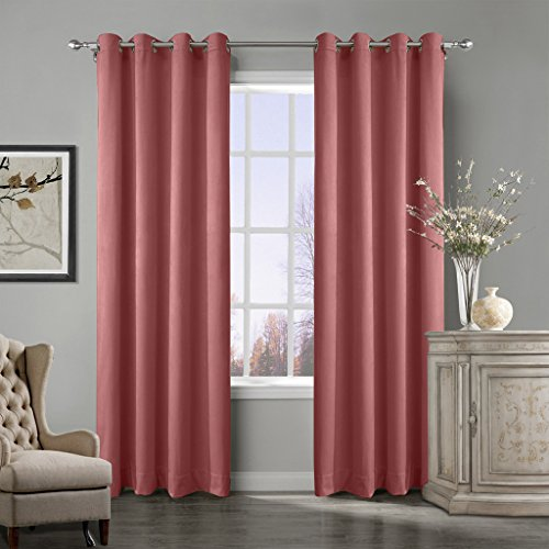 Cheap COFTY Super Soft Matt Luxury Heavyweight Velvet Curtain Drape with Blackout Thermal Lining Coral 50Wx120L Inch(set of 2 panels) – Nickle Grommet