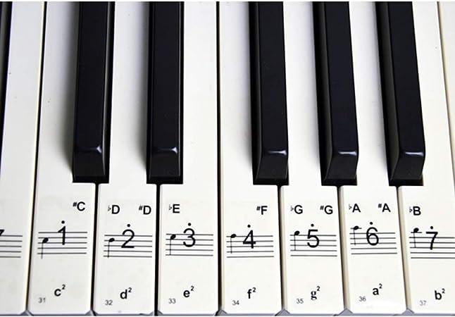 2 juegos de pegatinas para teclas de piano y notas musicales ...