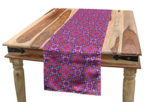 Lunarable Middle Eastern Table Runner, Nature Blossom Motif with Geometric Shapes Swirled Composition Star Shape, Dining Room Kitchen Rectangular Runner, 16