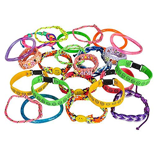 Kicko Assorted Colorful Bracelets - 72 Pieces Bangles and Anklets in Plastic, Woven, Fabric - Party Favors, Fundraising Campaign, Summer Camping, Easter Baskets, Gift Ideas, Carnival -