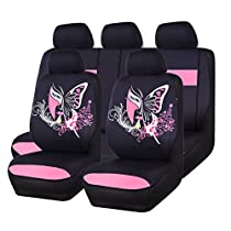 NEW ARRIVAL- CAR PASS 11PCS Insparation Universal Seat Covers Set Package-Universal fit for Vehicles,Cars With 5mm Composite Sponge Inside,Airbag Compatiable (Black with red color)