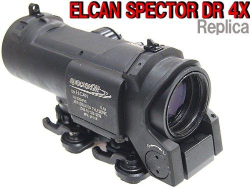 (最新特殊部隊スコープレプリカ) ELCAN SPECTOR DR 4X固定タイプレプリカスコープ (レティクル11段階発光)/ ブラック B00G7N4AR8