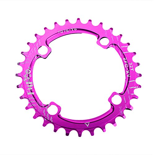 Thiningstars 104bcd Single-tooth Positive Negative Mountain Bicycle Chainring Crankset 32T, 34T, 36T, 38T (Purple, - Mountain Xc Bike Crank