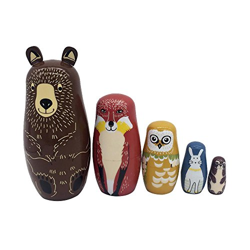 - AOLVO Set of 5 Wood Easter Nesting Dolls with Bear King Snowman Rabbit Owl Painting Handmade Russian Matryoshka Doll Cartoon Animals Pattern Toy Gift