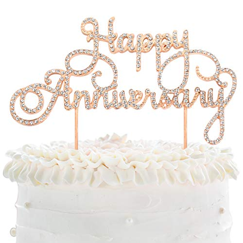 (Happy Anniversary Cake Topper Wedding Anniversary Crystal Rhinestone Party Decoration Silver (Gold))