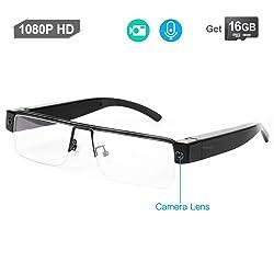 WISEUP 16GB 1920x1080P Wearable Hidden Camera Glasses Mini DV Camcorder Video Recorder
