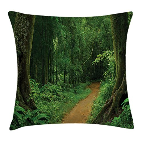 Ambesonne Jungle Decor Throw Pillow Cushion Cover, Pathway in The Forest Thailand Fresh Calm Nature Park Meditation Hiking Picture, Decorative Square Accent Pillow Case, 18 X 18 inches, Green by Ambesonne
