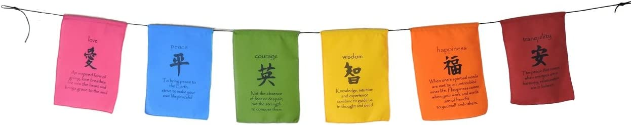 Handmade Tibetan Affirmation Prayer Flags Peace Happiness Courage Love Tranquility