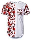 URBANTOPS Mens Hipster Hip Hop Stamp Panel Pocket Longline T-Shirt White, M