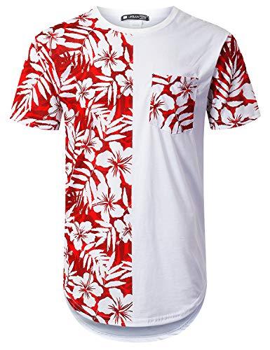 URBANTOPS Mens Hipster Hip Hop Stamp Panel Pocket Longline T-Shirt White, M by URBANTOPS