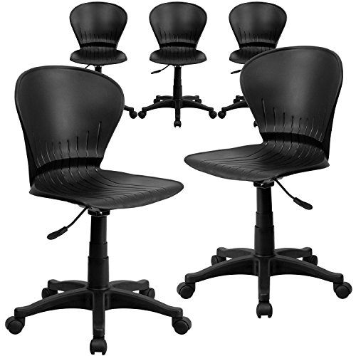 Flash Furniture 5 Pk. Mid-Back Black Plastic Swivel Task Chair