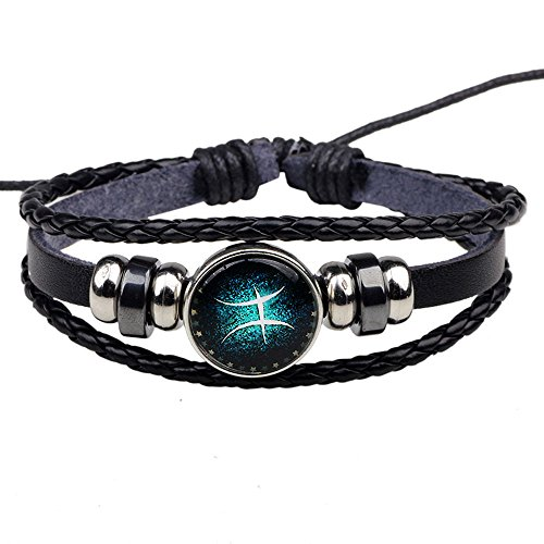 HIRIRI Hot Sale Unisex 12 Constellations Bracelet Fashion Jewelry Alloy Leather Bracelet Personality Bracelet Gift (@Gemini) -