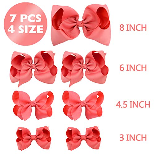 HLIN Toddler Girls 7PCS Watermelon Hair Bow Clips Matching American Girls Doll & Girls (8inch 1,6inch 2, 4.5inch 2, 3inch 2) ()