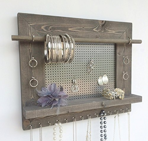Jewelry Organizer, Earring Holder, Necklace Holder, Barnwood Frame, Jewelry Holder, Hanging Jewelry Organizer, Wood Jewelry Organizer, Wall Mount Jewelry Holder