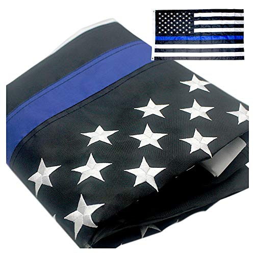 VSVO Thin Blue Line American Police Flag 2x3 ft with Embroidered Stars - Sewn Stripes - Brass Grommets - UV Protection - Black White and Blue Flag