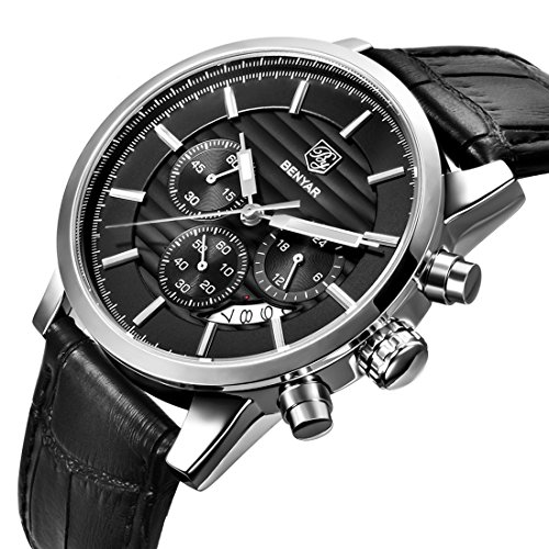 Gentlemans Chronograph Watch Black Dial (Men's Fashion Chronograph Quartz Watch with Black Leather Strap Waterproof Date Display Analog Sport Wrist Watches for Men)