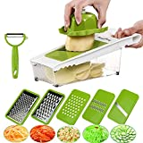 BestFire Adjustable Mandoline Slicer Vegetable Slicer Grater Cutter Chopper, Julienne Slicer Food Slicer with 5 Interchangeable Stainless Steel Blades Food Container Safety Holder Vegetable Peeler
