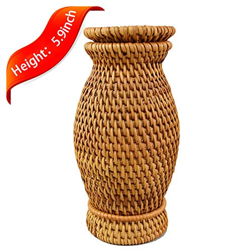 - Mini Size Handmade Woven Rattan Floral Decorative Vase Flower Vase Ikebana Container Flower Arrangement Ikebana Holder for Home Decor and Great Hotel Table Decor (1)